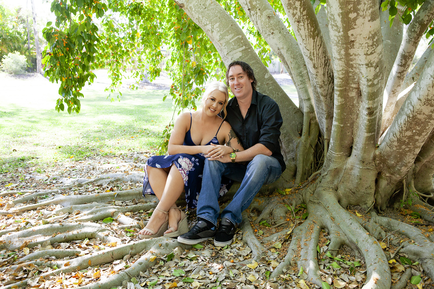 Couple sitting under a tree, couple snuggling with heads together, couple engaged, gold coast best portrait photographer, gold coast best couple photography, gold coast couple portraits, gold coast photographer, gold coast engagement, gold coast engagement photoshoot, gold coast engagement shoot, gold coast engagement photography, engagement shoot with personality, lana noir, @lananoir, gold coast natural light photography, gold coast outdoor photography, robina photographer, broadbeach photographer, gold coast professional photographer, gold coast couple, couple photography
